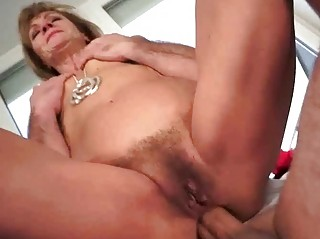 Hot granny gets her tight asshole fucked pretty ha