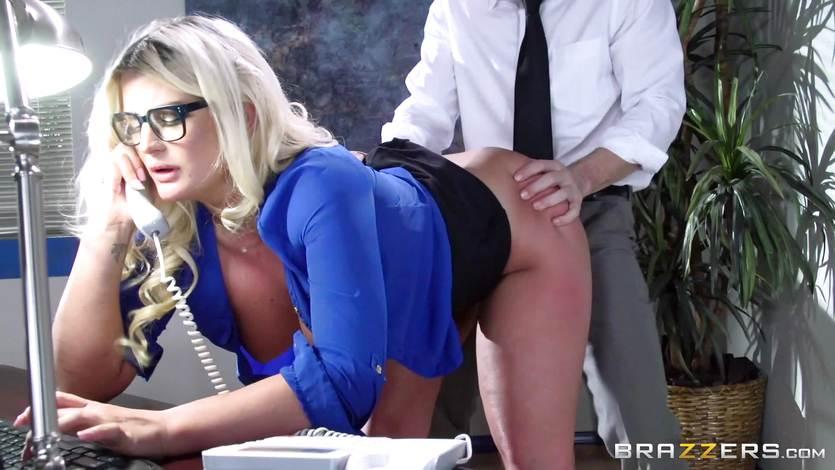 Busty Julie Cash fucked across her work desk | PornTube ®