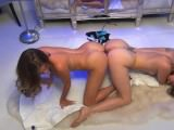 Two hot babes share a double ended dildo