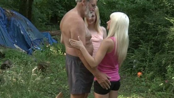 Old woodcutter fucks two teens in the forest - Older Man porn