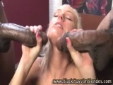 Interracial blonde gets cumshots after being fucked