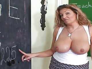 Cute Mom Teaching Young Boy