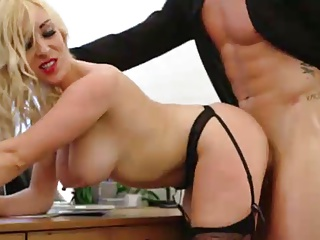 Blonde in black nylons gets fucked