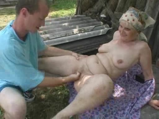 Blonde Granny Has Fervent Anal Sex With A Horny Stud Outdoors