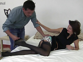 Skinny old mother fucks her young lover