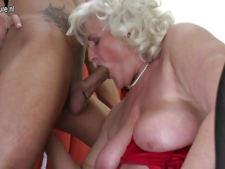 Old granny takes young cock in granny holes