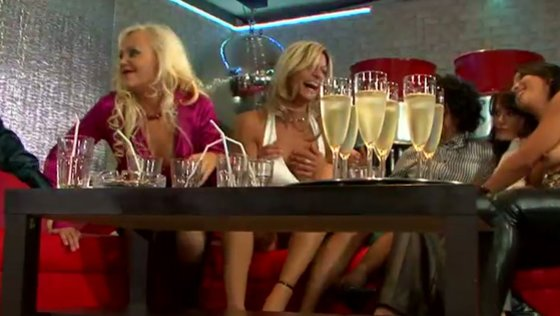 Hen party of lusty drunk MILFs ends up with wild reverse gang bang - Party porn