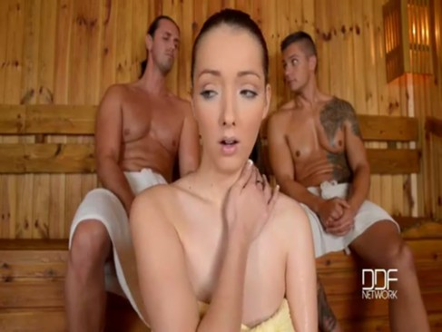 Lucie Wilde tag teamed in sauna