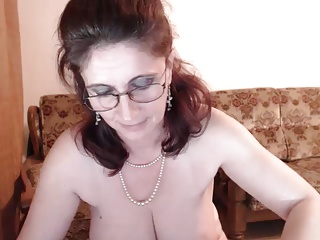 Hot 48 yo Russian mature Maria play in skype