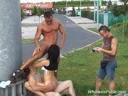 Whore in hot public threesome