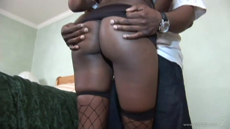 Sexy Ebony With Nice Black Butt In Fishnet Stockings Giving Superb Blowjob Before Getting Fucked Hardcore