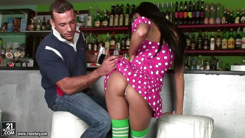 Morgan in a hot dress fucks at the bar | PornTube ®