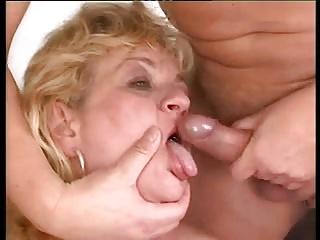 Blonde Grandma Threesome