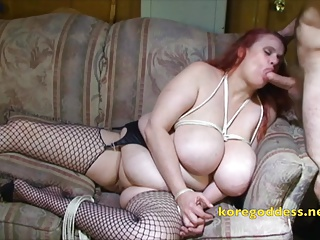 BBW with massive boobs tied up and deep throating