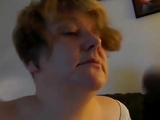 Mature with natural huge tits sucks and swallows