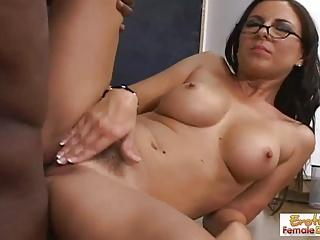 MILF teacher in glasses bangs her hung black student