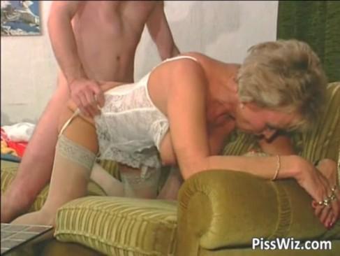 Mature slut in white lingerie getting
