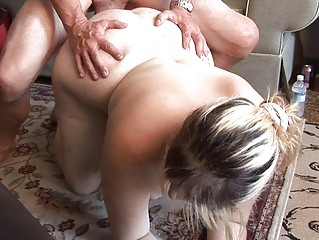 Blonde chubby milf gets her nookie slammed doggy style on the floor