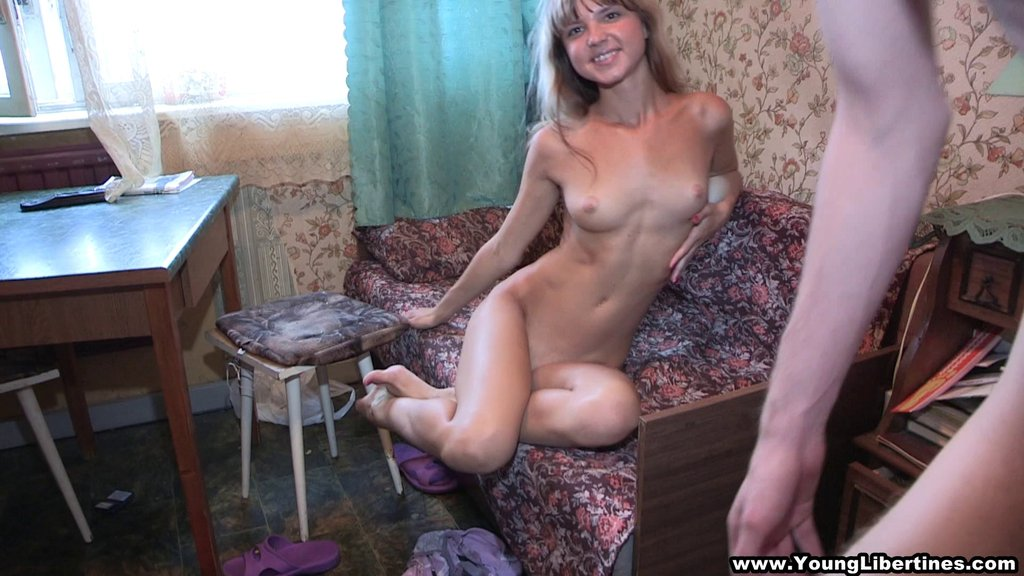Skinny Russian Teen With Natural Tits Gives A Blowjob Then Gets Drilled Hardcore