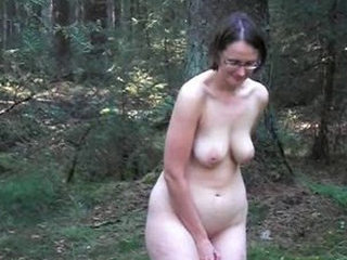 German hot mature has fun in the forest. Reality. - Mature porn