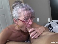 Mature with tiny tits receives facial - Mature sex video