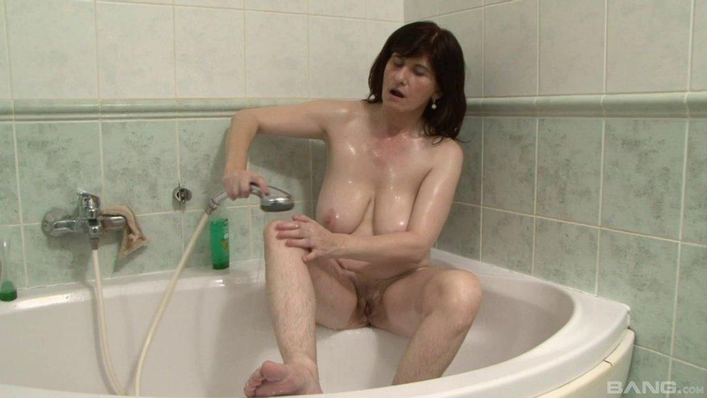 Big Tits Brunette Cougar Washes Off Nut Butter After Riding A Big Black Cock Till Orgasm