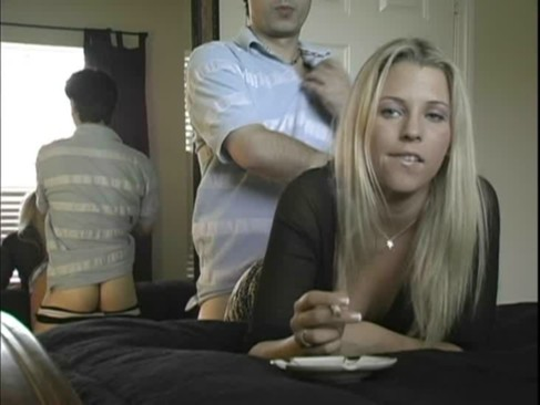 Blonde gets bent over and fucked on bed while smoking
