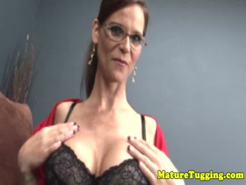 Busty mature milf tugging in pov
