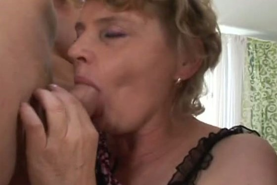 Blond granny wearing stockings gets fucked by three studs - Grannies porn