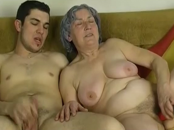 Sassy grey haired granny takes part in FFM threesome with young couple - Grannies porn