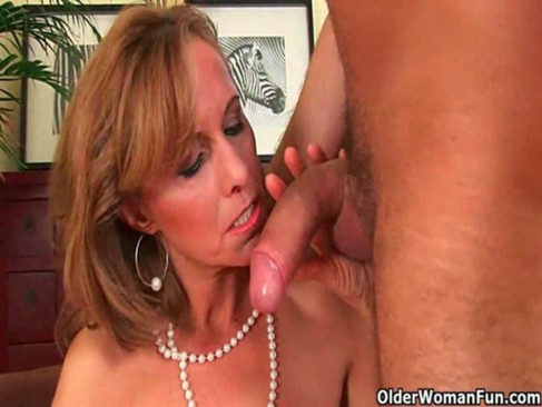 Grandma loves warm cum on her face after getting fucked