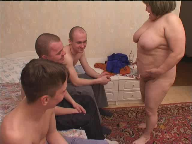 The More The Merrier As This Chunky Wife Takes On Three Guys