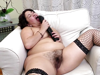 Horny amateur mother with very hungry hairy vagina