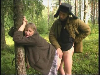 Granny In The Forest Gets Fucked While Chopping Fire Wood
