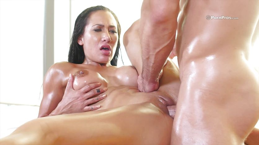 Long haired brunette Amia Miley oiled up for lusty pounding s... | PornTube ®