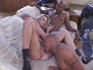 Bootylicious blonde in black thong taking on two black meat pricks