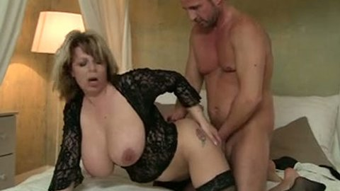 Yummy fair haired mommy in stockings gets doggy fucked rough - MILF porn