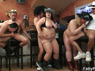 Hot fat orgy in the bar