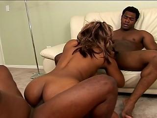 Hot busty ebony fucked by 2 black cocks