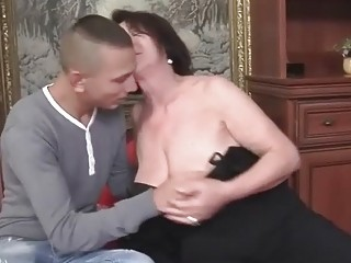 Horny granny having hot sex with a boy