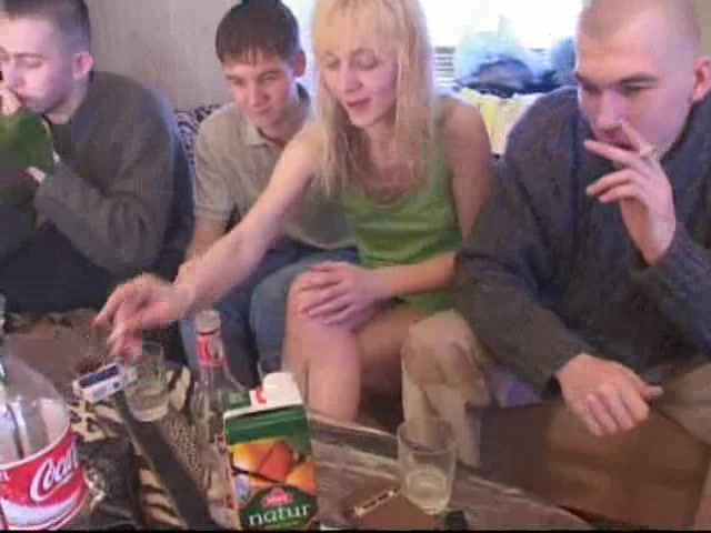 Slutty Blonde Girl Gets Gang Banged By A Group Of Guys