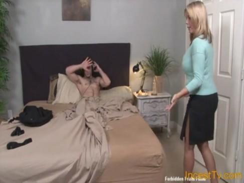 Mother helps him cum