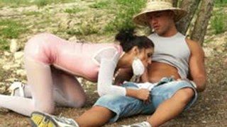 A farmer boy is feeding hot city girl with cock and fucks her in the woods - Hardcore porn