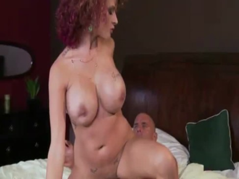 Busty red head milf rides lucky neighbours cock