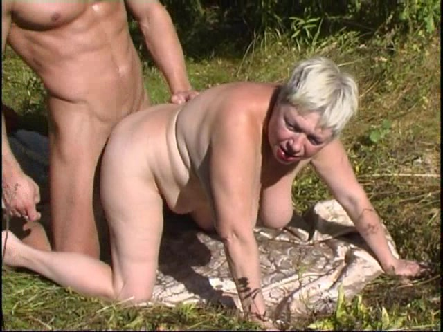 Doting Granny Bangs A Beefy Stud Outdoors Hardcore