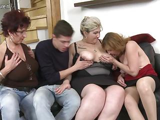 Lucky boy fucking three mature slut moms