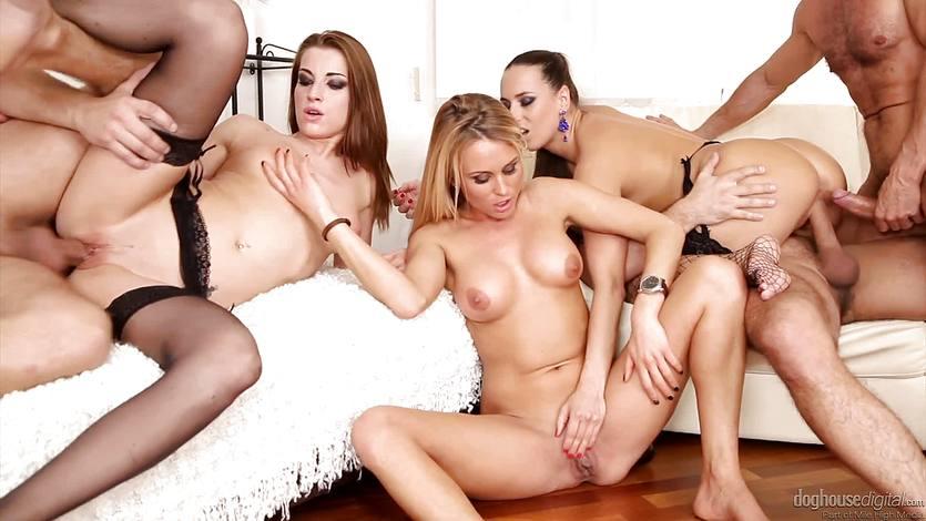 Cum guzzling orgy three hot babes ride big cocks | PornTube ®
