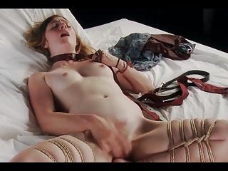 Bondage masturbation in bed