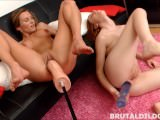 Two babes expanding their holes to new limits with massive brutal dildos