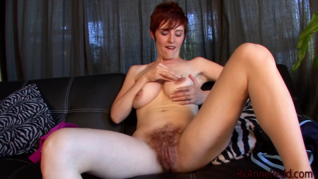 Self Work On Her Hairy Pussy As She Enjoys